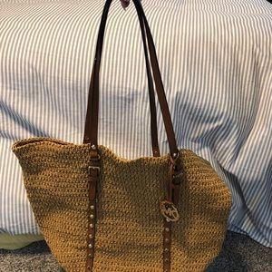 Michael Kors large straw handbag